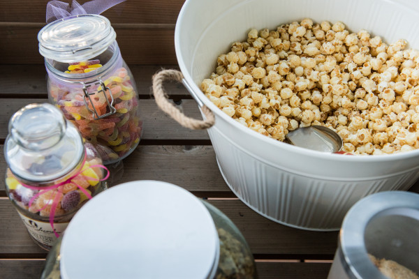 popcorn and sweets in jars