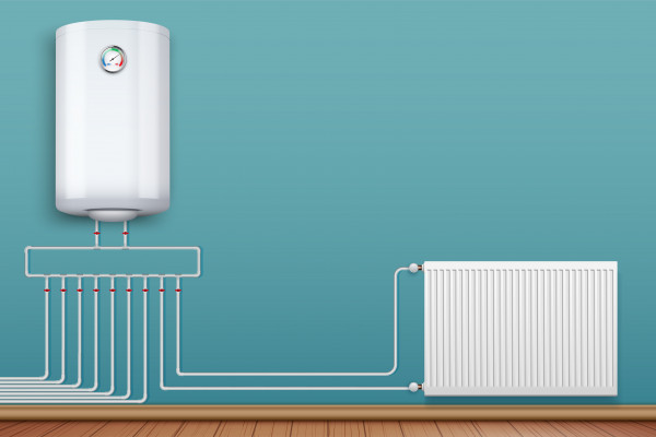 boiler with pipes linking to a radiator